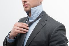 Closeup portrait of young handsome businessman in Stock Photo