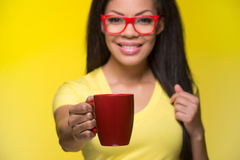 Closeup portrait of young happy woman. Royalty Free Stock Photo