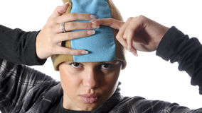 Closeup portrait of young hip-hop woman Royalty Free Stock Photography