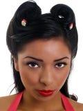 Closeup portrait young hispanic woman Stock Images