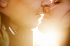 Closeup portrait of young kissing couple Royalty Free Stock Images