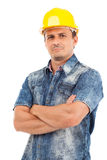 Closeup portrait of a young man with hardhat Stock Photography