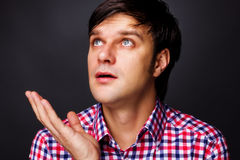 Closeup portrait of a young  man having an idea Stock Photos