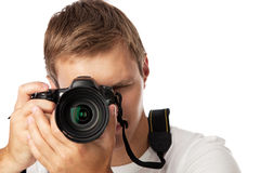 Closeup portrait of a young man taking a picture Royalty Free Stock Photos