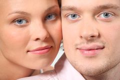 Closeup portrait of young pair. Closeup portrait of young happy pair stock images