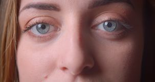 Closeup portrait of young pretty caucasian female face with blue eyes looking at camera.  stock video