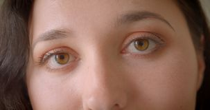 Closeup portrait of young pretty caucasian female face with eyes looking at camera stock video footage