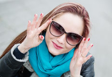Closeup portrait of young pretty woman Stock Images