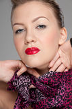 Closeup portrait of young rock girl. Red lips Royalty Free Stock Photo