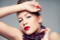 Closeup portrait of young rock girl. Red lips Stock Photos