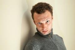 Closeup portrait of young sarcastic man. Closeup portrait of young sarcastic Caucasian man Royalty Free Stock Photos