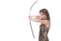 Closeup portrait of young savage woman with bow. And arrow Stock Photography