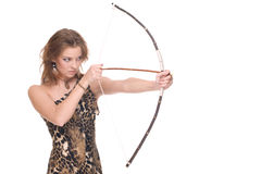 Closeup portrait of young savage woman with bow. And arrow Stock Photo