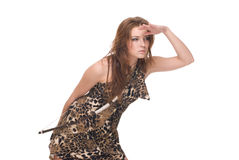 Closeup portrait of young savage woman with bow. And arrow Royalty Free Stock Photo