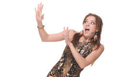 Closeup portrait of young scared savage woman stock photo