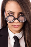 Closeup portrait of a young serious teacher with glasses Stock Photo
