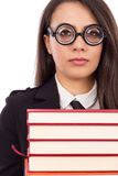 Closeup portrait of a young serious teacher with glasses Royalty Free Stock Photography