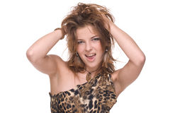 Closeup portrait of young sexy savage woman. That playing with hair on white Stock Images