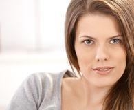 Closeup portrait of young woman Stock Images