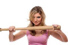 Closeup portrait of young woman with a bat Stock Photography