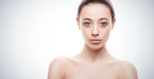 Closeup portrait of young woman with clean fresh skin Stock Photo