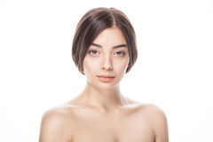 Closeup portrait of young woman with clean fresh skin Stock Image