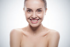 Closeup portrait of young woman with clean fresh skin Royalty Free Stock Images