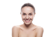 Closeup portrait of young woman with clean fresh skin Royalty Free Stock Photos