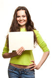 Closeup portrait of young woman. Closeup portrait of cute young woman holding a white page Stock Photo