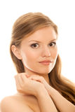Closeup portrait young woman health skin face Stock Photo