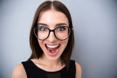 Closeup portrait of a young woman shouting Stock Images