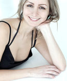 Closeup portrait of  young woman smiling Stock Photo