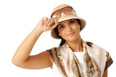 Closeup portrait of young woman at summertime Royalty Free Stock Photo