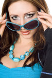 Closeup portrait of young woman in sunglasses Stock Images