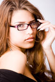 Closeup portrait of young woman touchin Stock Photography