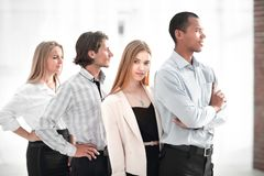 Closeup.the positive portrait of multiethnic business team royalty free stock photo