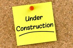 Free Closeup Post It Note On Corkboard With Under Construction Message On It Royalty Free Stock Image - 159479116
