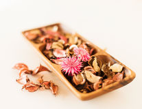 Closeup of pot-pourri in wooden bowl Stock Image