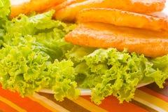 Closeup potato pancakes with green salad Royalty Free Stock Images