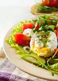 Closeup pouched egg in fresh light salad Stock Images