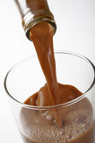 Closeup pouring chocolate milk Royalty Free Stock Image