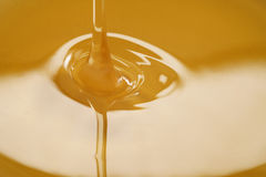 Closeup of pouring organic honey. Amber golden color Royalty Free Stock Images