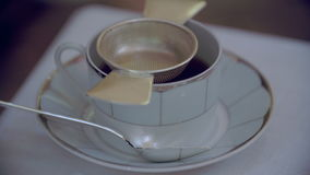 Closeup of pouring tea stock video footage