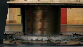Engine of hydro turbine rotates producing energy. Closeup powerful engine of hydro turbine rotates producing electric energy at water power plant stock video