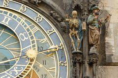 Closeup of Prague Astronomical Clock (Orloj) Royalty Free Stock Photography
