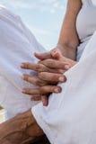 Closeup of praying hands of a yoga woman meditating Stock Photo