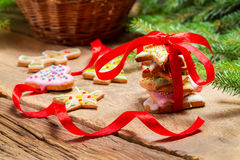 Closeup of preparing gingerbread cookies as a gift Stock Images