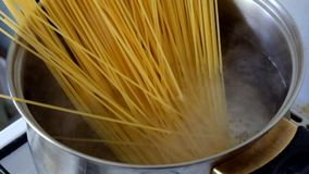 Closeup of preparing spaghetti stock footage