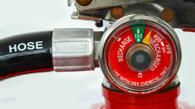 Closeup pressure gauge of Fire extinguisher Royalty Free Stock Photos