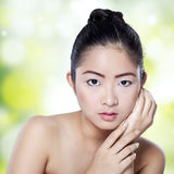 Closeup of pretty chinese woman Royalty Free Stock Photography